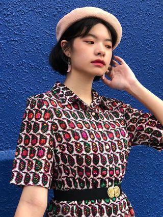 🚚 Vintage 1980s neon print day dress with kick pleat