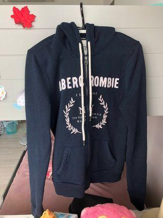 abercrombie and fitch navy blue hoodie jacket