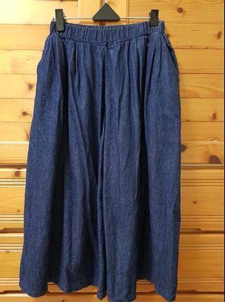 正韓 深藍牛仔寬褲裙 八分