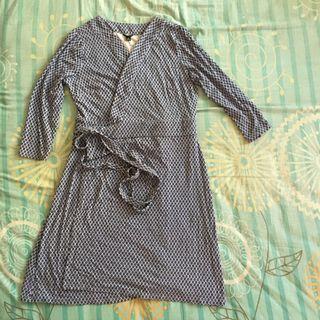 Blue Printed Wrap Around Dress