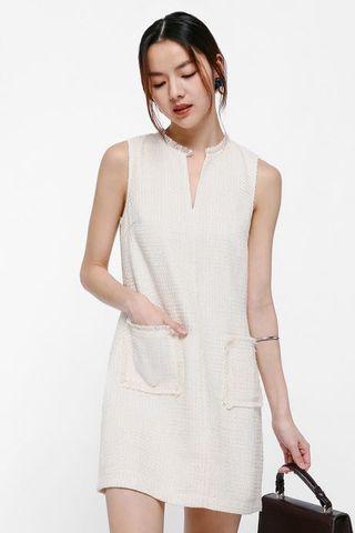 Love Bonito Ena Tweed Notch Neck Shift Dress in White XS