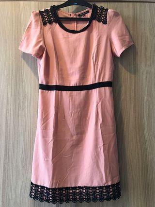 Dress pink lis hitam size S