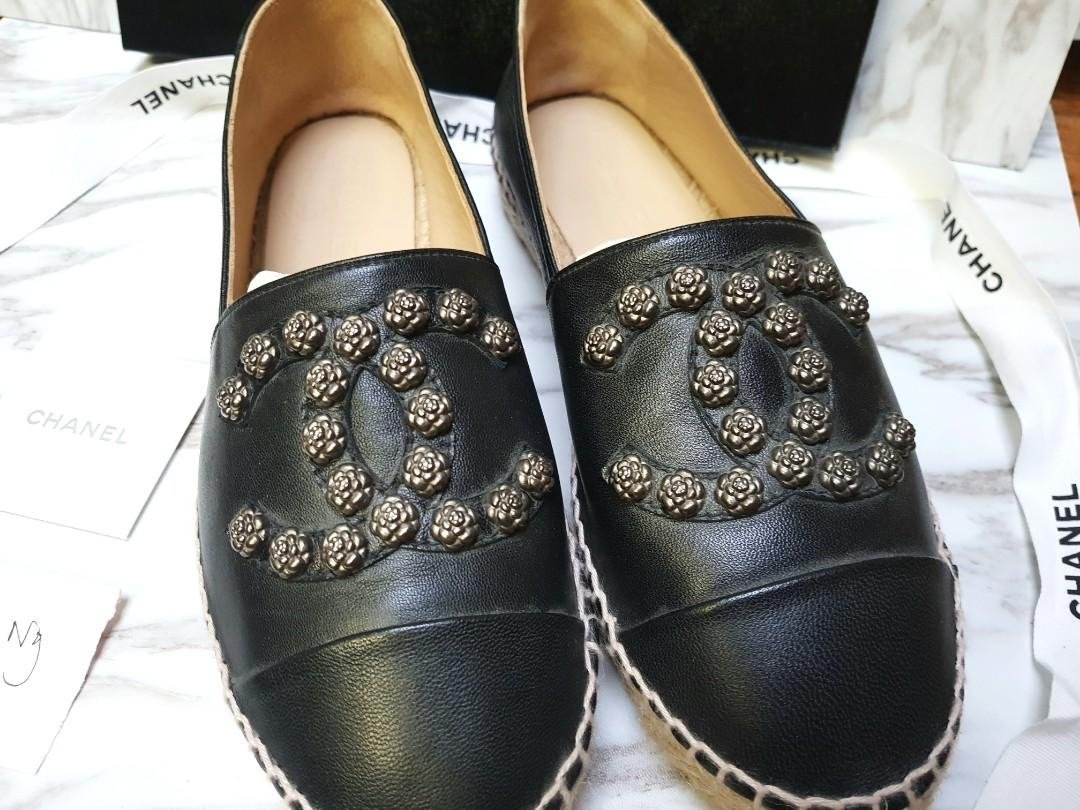 [100% AUTH] CHANEL Espadrilles Camellia Studded Black Lambskin 37