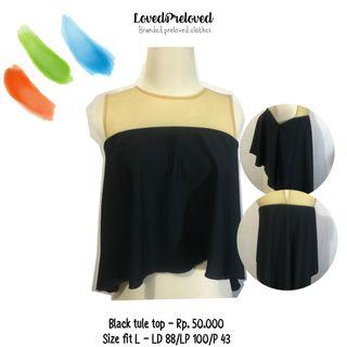 Black hi low tule top