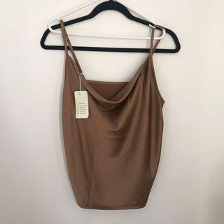 Brown nude cowl neck cami top