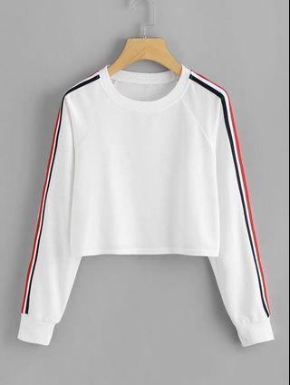 Side stripe cropped sweatshirt