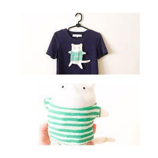 🚚 A la sha ❤️ 變身娃娃圓領T恤 造型T Dailo 深藍色 娃娃 圖案T 背包T