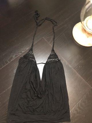 Women's BEBE Black Knit Halter Top Size XS