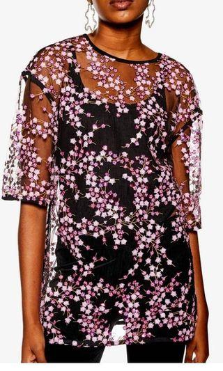 TOPSHOP sequined cherry blossom top