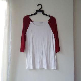 TOBI Red Raglan Top