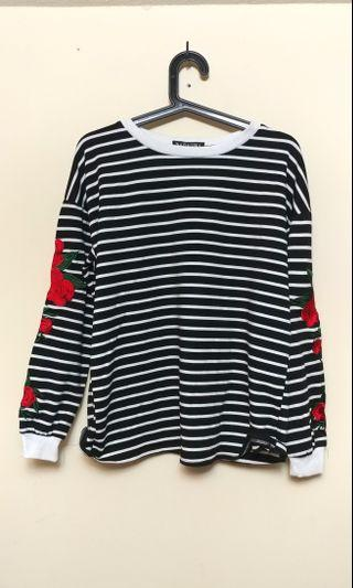 Stripes and rose patched sweater (L)