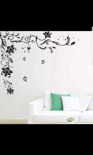 HARI RAYA Flowers vine wall  stickers 🔘Size W150*H76cm