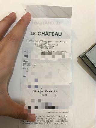 $52 worth Le Chateau gift card