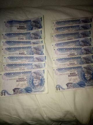 Malaysia old satu ringgit 14 notes $120
