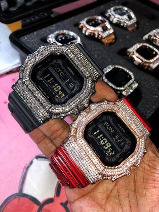Brand new and 💯% authentic Casio G-Shock King customised with Super high quality Austrian crystals in chrome metal bezel . Bling bling shock , gshock king with crystals , Casio , CASIO , casio
