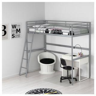 🚚 SVÄRTA Loft bed frame, silver-colour, 90x200 cm