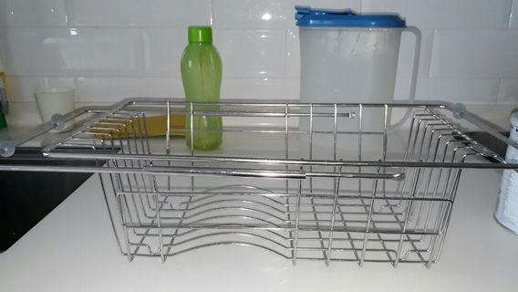 Metal sink plates dryer. Stainless steel.