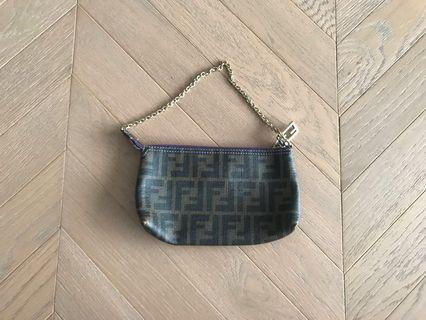 Fendi monogram pvc Chain clutch bag 鐵鏈小袋