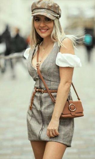Plaid overall dress