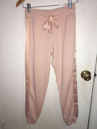 pink joggers with silk