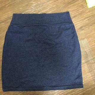 Skirt bandage skirt cotton on almost new  office wear cotton material dark blue