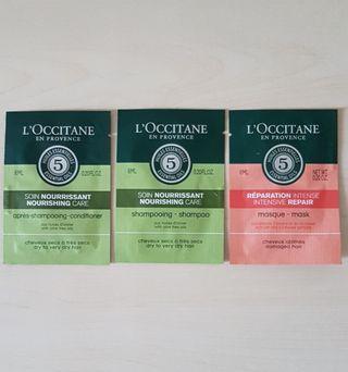 L'Occitane Mask, Shampoo and Hair conditioner Sample