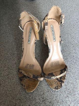 Faux snake skin strappy heels