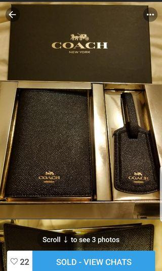 Brand New Coach Leather Passport Cover and Luggage tag