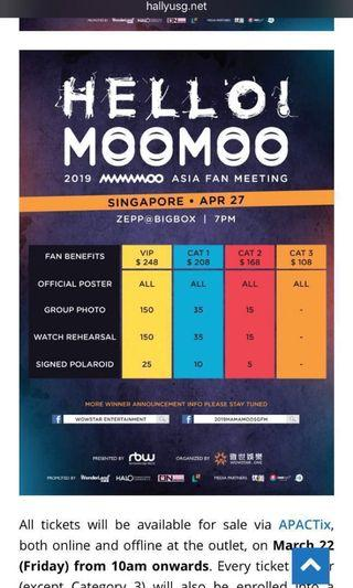 mamamoo fan meet sg cat 1 tickets