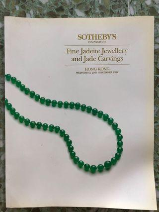 🚚 Sotheby's paperback Fine Jadeite Jewellery and Jade Carvings catalogue