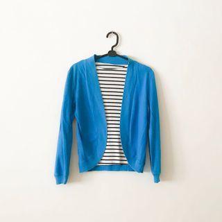 輕薄好收 水藍色小外套 棉質外套 棉質罩衫 冷氣房開襟外套 七分袖外套 素色外套