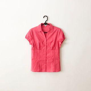 全新未穿 桃紅色 深V領休閒襯衫 V字領襯衫 紅色 粉紅色 素色襯衫 正韓襯衫 寬鬆襯衫 uniqlo