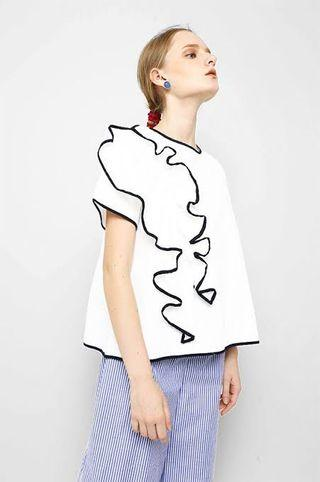 COTTONINK white drapped top