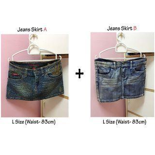 (Free Shipping) 2 X Short Jeans Skirt / Denim Skirt