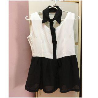 (Free Shipping) White Sleeveless Chiffon Blouse with Detachable Black Collar