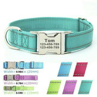 [Pre-Order] Personalized Dog Cat Collar Free Engraved Name and tel Adjustable Collar