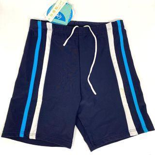 🚚 夏之戀 深藍素彩條 男童五分泳褲