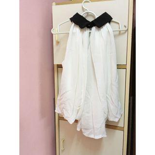 (Free Shipping) Black & White Sleeveless Halter Neck Silk Chiffon Flowy Top / Shirt / Blouse