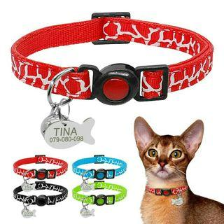 [Pre-Order] Quick Release Cat Safety Collar With Bell Personalized Kitten Cats Adjustable Collars