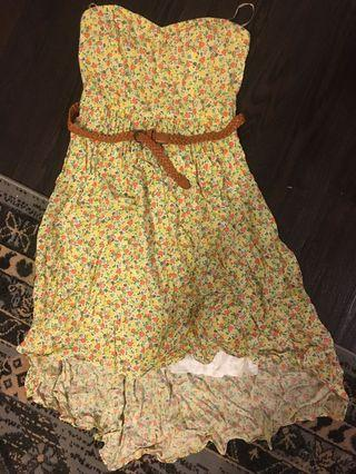 Strapless yellow floral dress