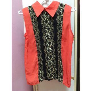 (Free Shipping) Orange Sleeveless Collared Shirt with Black Lace Embellished
