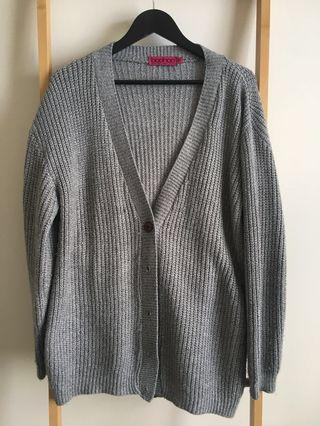 Boohoo Boyfriend Style Grey Cardigan - Size M/L