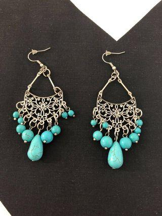 Bohemian Long Bead Tassle Torquoise Bead Earrings