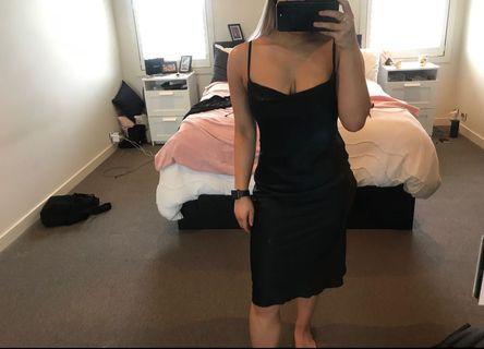 Black silk material dress