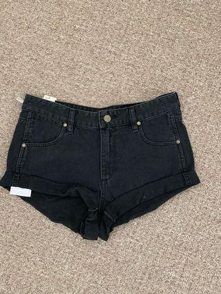 Black denim wrangler shorts