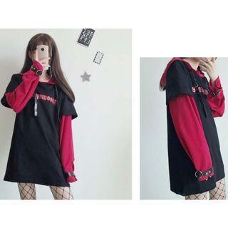 (Free Postage) Punk Red & Black Layered Look Long Sleeve Hoodie