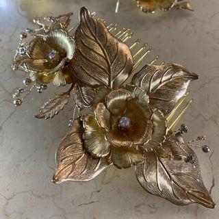 Norahs Design Handmade Brass flowers hair comb with Swarovski gold pearl & Japanese gold beans