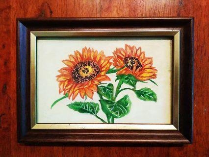 🎨 Sunflower Hand- Painted with Classic Wooden Frame