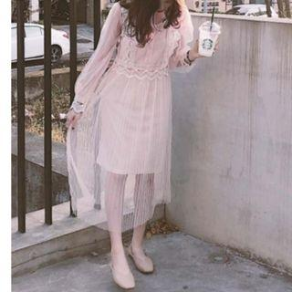 (Free Postage) Delicate & Grace Lace Mesh Tulle Dress / Long Sleeve Bridesmaid Dress / Dinner Dress / Prom Dress / Princess-like Dress