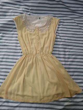 🚚 春夏鵝黃洋裝